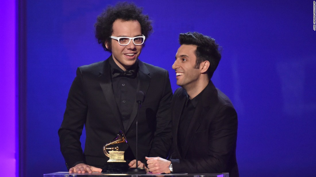 "Ian Axel, left, and Chad Vaccarino of A Great Big World accept the Grammy for Best Pop Duo/Group Performance. They won the award for their song ""Say Something,"" featuring Christina Aguilera."