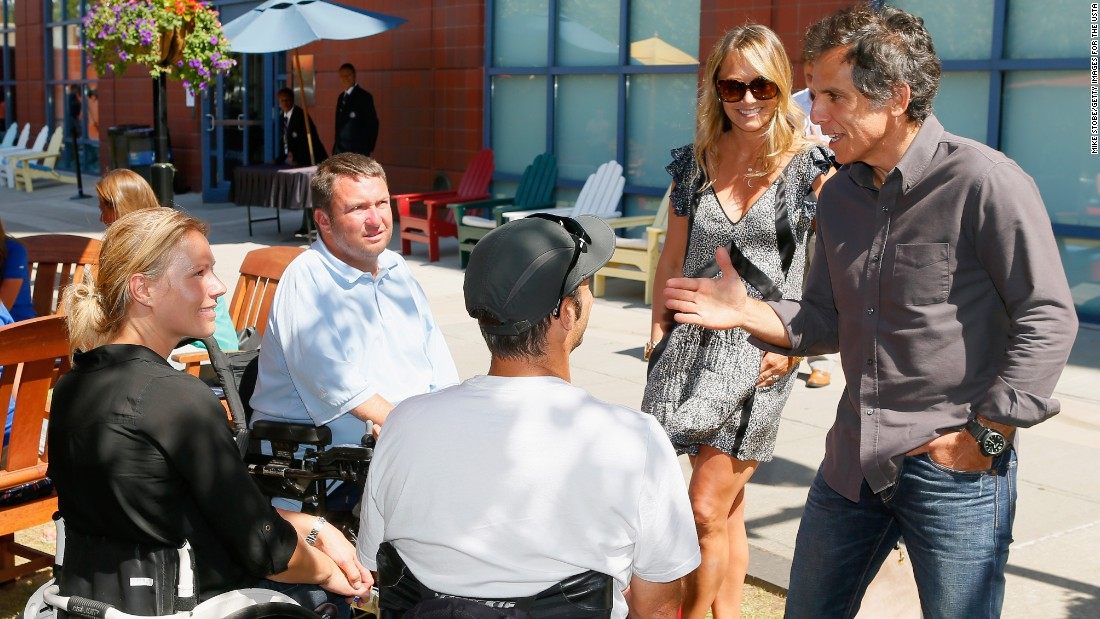 Since retiring Esther Vergeer has been working to promote more integrated tennis tournaments. Here she meets actor Ben Stiller (R) and his wife Christine Taylor at the U.S. Open in New York. All four grand slams stage wheelchair and able-bodied events.