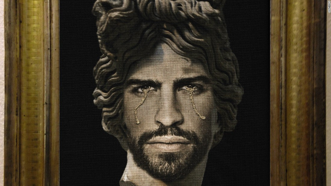 "Aside from the auction, there are other football artworks on display at Sotheby's, including Francesco Vezzoli ""Portrait of Gerard Pique as Apollo del Belvedere."""