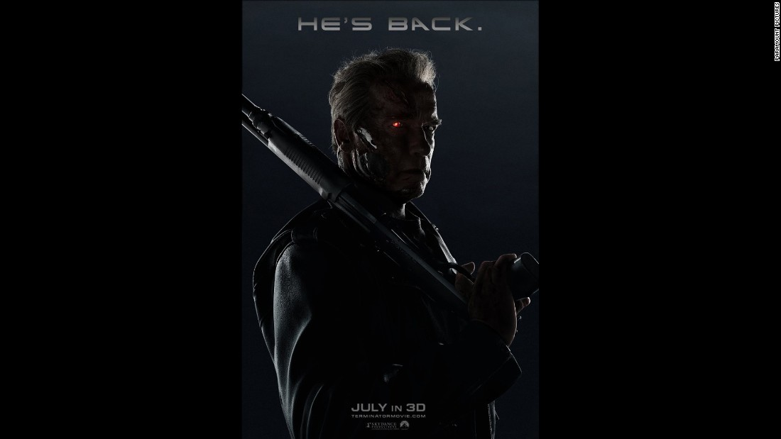 """He's back,"" the posters proclaim, and it's obvious who ""he"" is: Arnold Schwarzenegger in his most iconic role, that sneaky scamp, the T-800. This time he gets to be fatherly, protecting a young Sarah Connor, who still faces that time line in which she becomes the mother of Resistance leader John Connor. It opened July 1."