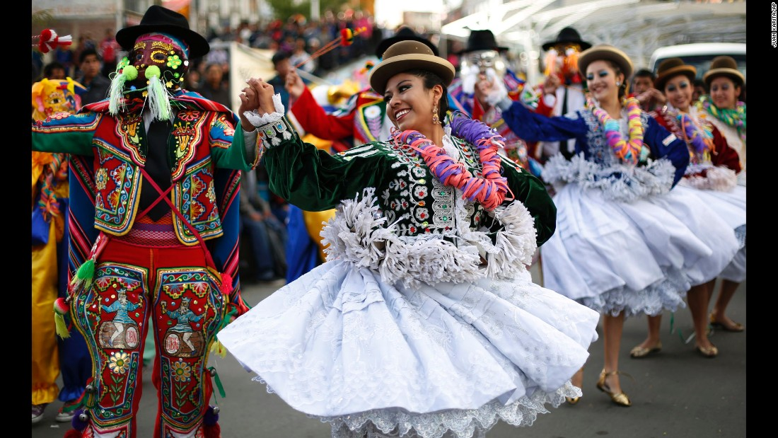 Dancers perform during Carnival in La Paz, Bolivia, on Saturday, February 7.