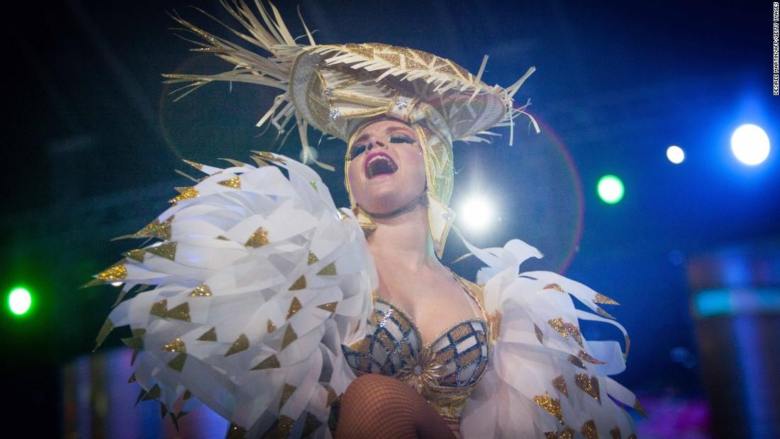 A dancer participates in Carnival celebrations February 7 in Santa Cruz de Tenerife.