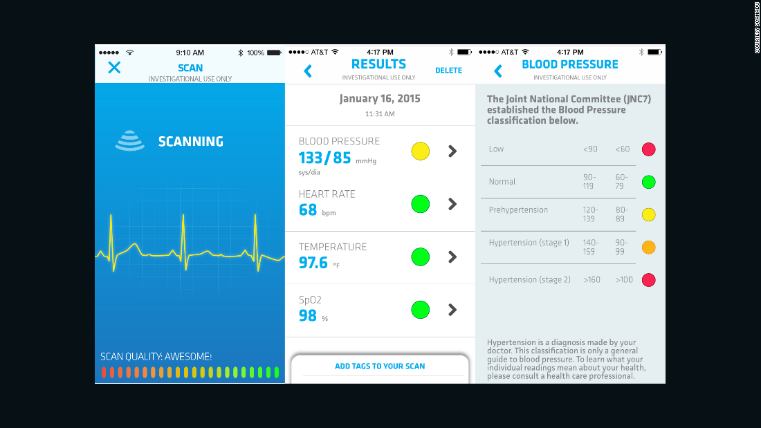 The data is sent to a smartphone app for iPhone and Android.