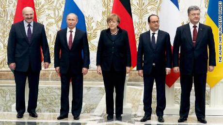 Belarussian President Alexander Lukashenko, Russian President Vladimir Putin, German Chancellor Angela Merkel, French President Francois Hollande and Ukrainian President Petro Poroshenko.
