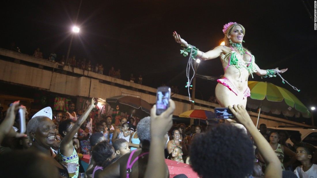 A beauty contestant performs February 11 during the Gay Glam Ball in Rio de Janeiro.
