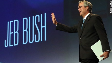 SAN FRANCISCO, CA - JANUARY 23: Former Florida governor Jeb Bush waves to the audience before speaking at the 2015 National Auto Dealers Association (NADA) conference on January 23, 2015 in San Francisco, California. Bush, who now owns a private consulting firm in Florida, recently announced that he is actively seeking support for a potential 2016 US presidential campaign. (Photo by Justin Sullivan/Getty Images)