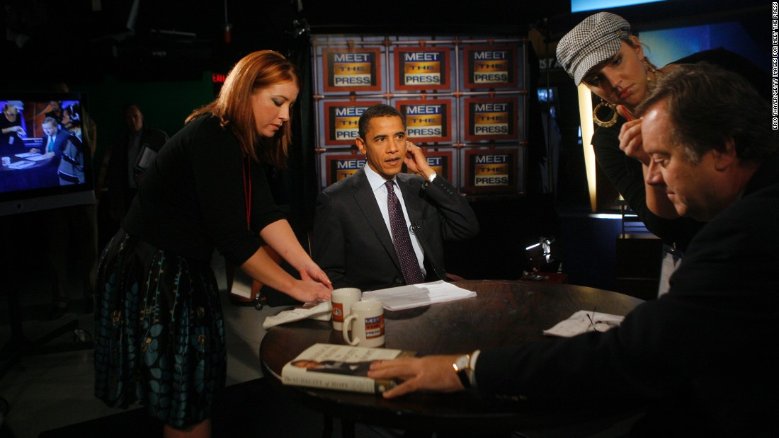 "Obama appears on ""Meet the Press"" with Tim Russert, right, in Des Moines, Iowa, in November 2007."