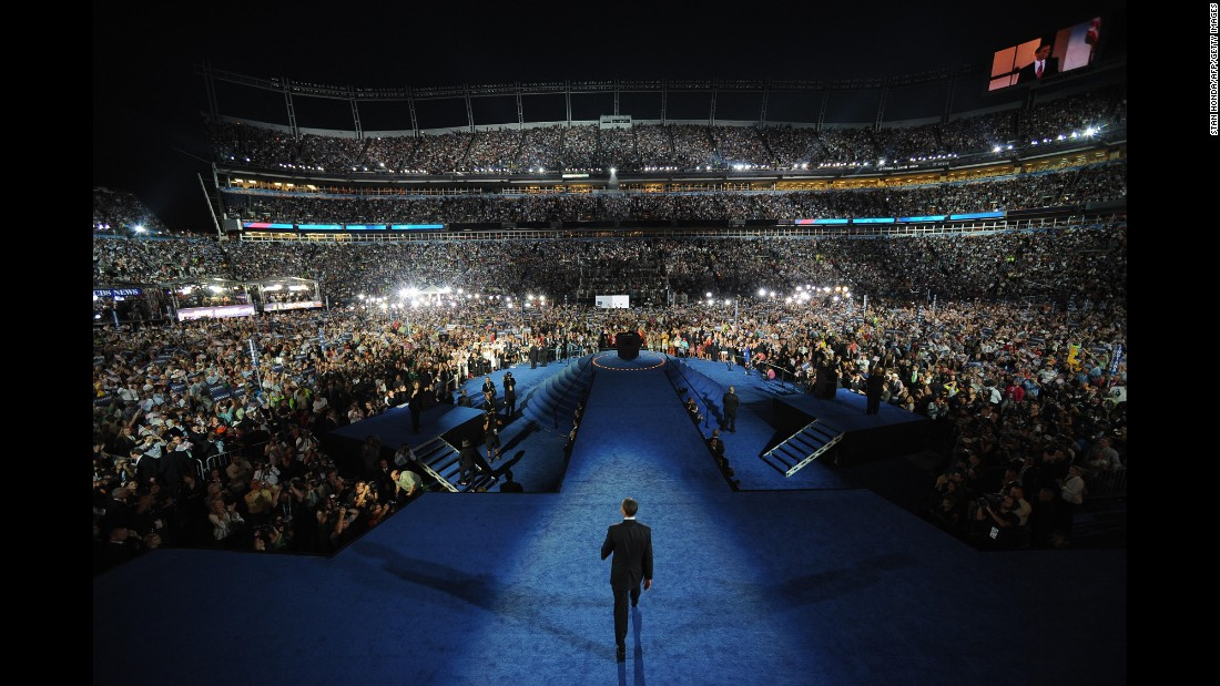 Obama speaks at the 2008 Democratic National Convention in Denver.