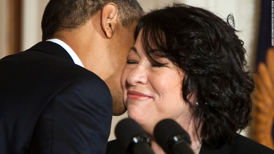 Obama kisses Sonia Sotomayor's cheek after announcing her as his nominee for Supreme Court justice in May 2009.