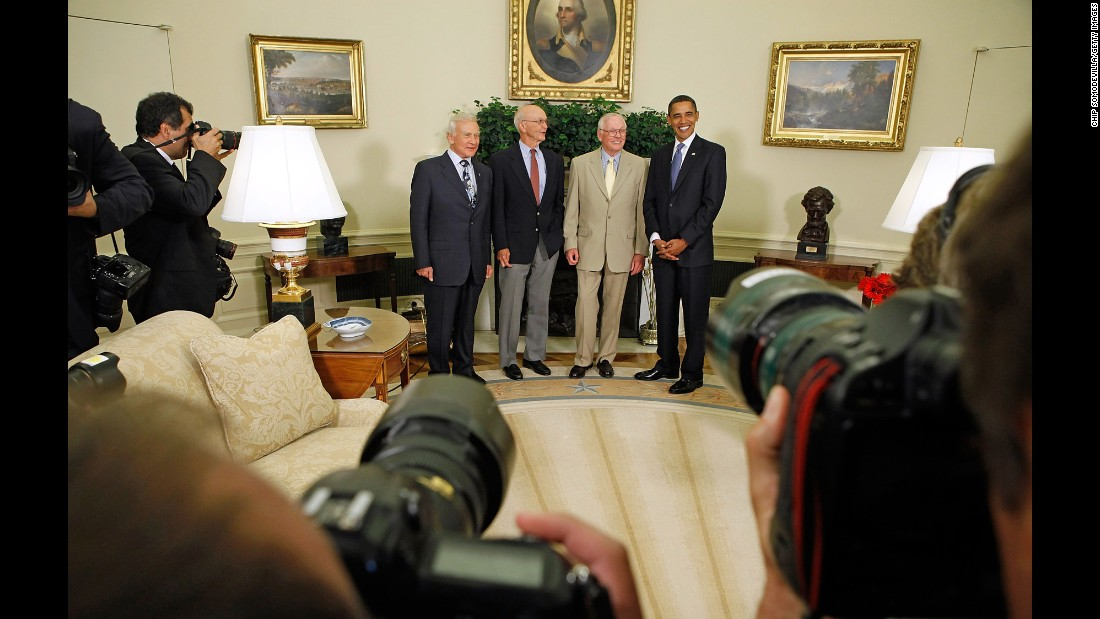 "Obama hosts the Apollo 11 astronauts -- from left, Edwin ""Buzz"" Aldrin, Michael Collins and Neil Armstrong -- in the Oval Office on July 20, 2009. It was the 40th anniversary of the moon landing."