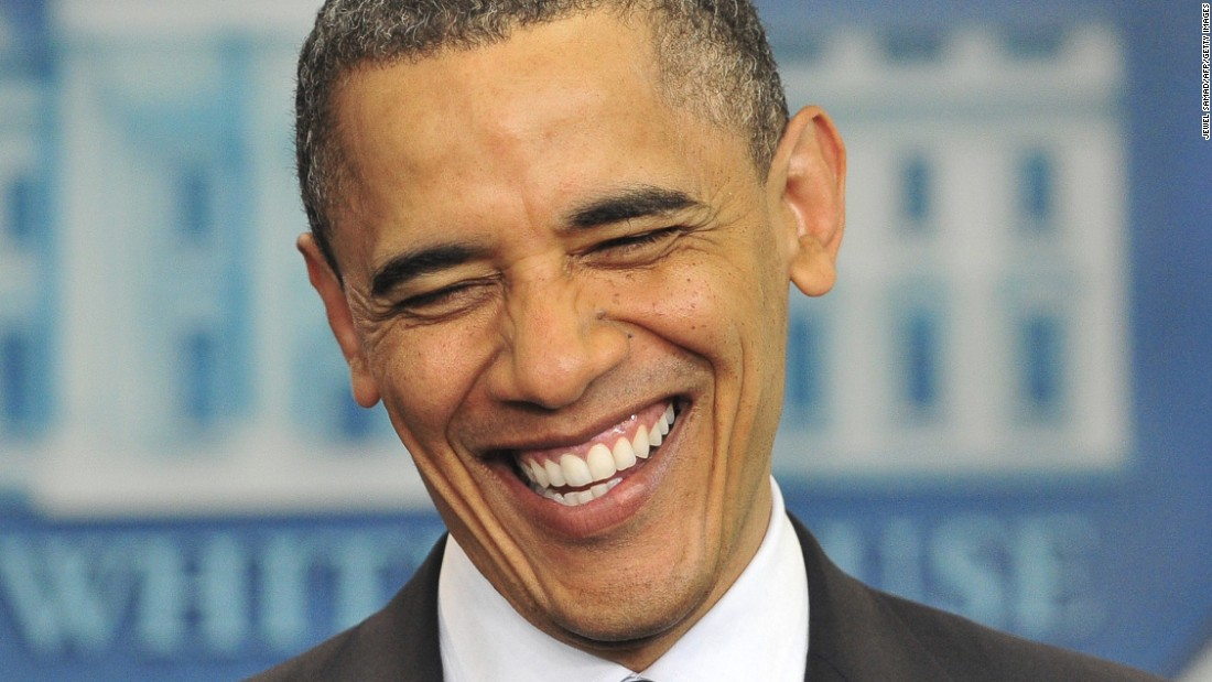 "Obama laughs as he makes a statement on his birth certificate in April 2011. Obama said he was amused over conspiracy theories about his birthplace, and he said the media's obsession with the ""sideshow"" issue was a distraction in a ""serious time."""