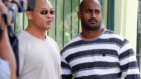 Australian death-row prisoners Myuran Sukumaran (r) and Andrew Chan (l) stand in front of their cell during an Indonesian Independence Day celebration at Kerobokan prison in Bali, Indonesia in 2011.