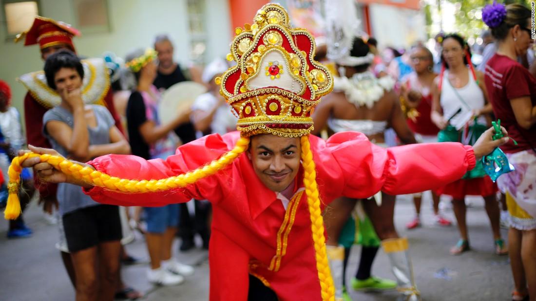A dancer participates in a Carnival parade in Rio de Janeiro on February 12.