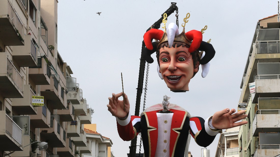 A large mannequin figure is set up in Nice, France, on February 13.