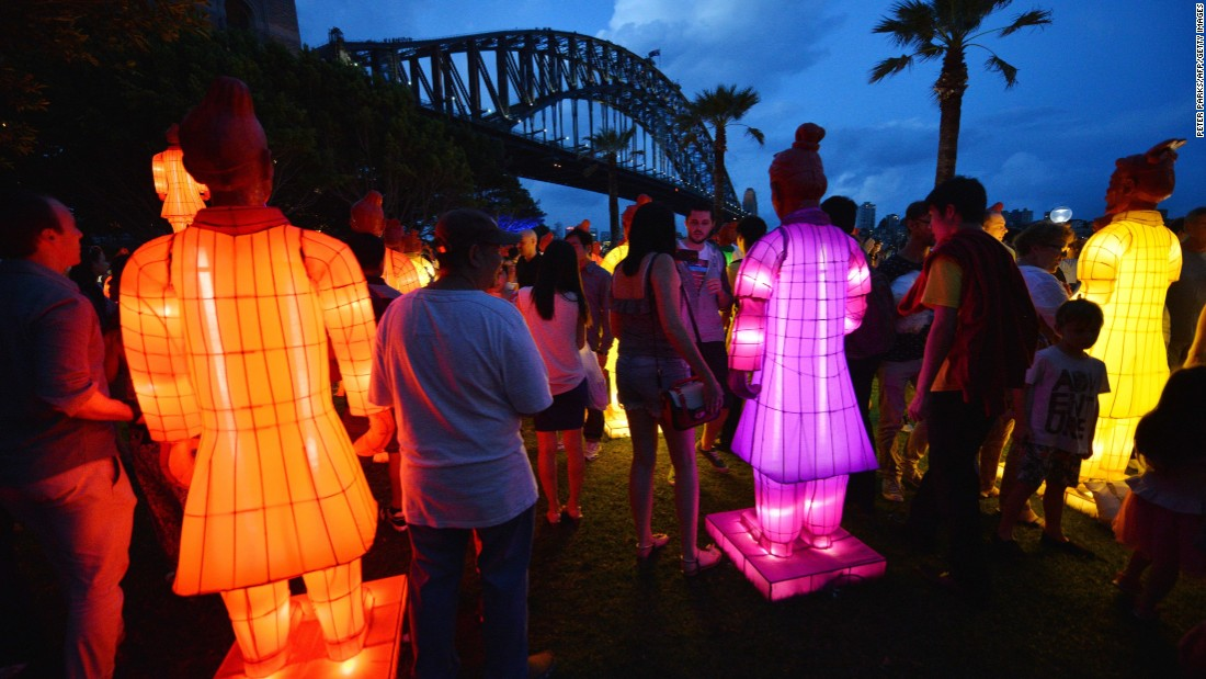 Visitors look at lanterns in the shape of the Chinese Terracotta Warriors at Sydney Harbor on February 13. The artwork, created for the Beijing Olympic Games in 2008 by a team of Chinese artists, is on display for the first time in Australia to launch the Australian celebrations of the Lunar New Year.