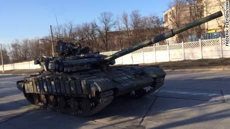 A Ukrainian tank moves towards the front line in the strategic city of Mariupol, southeast Ukraine, on February 14.