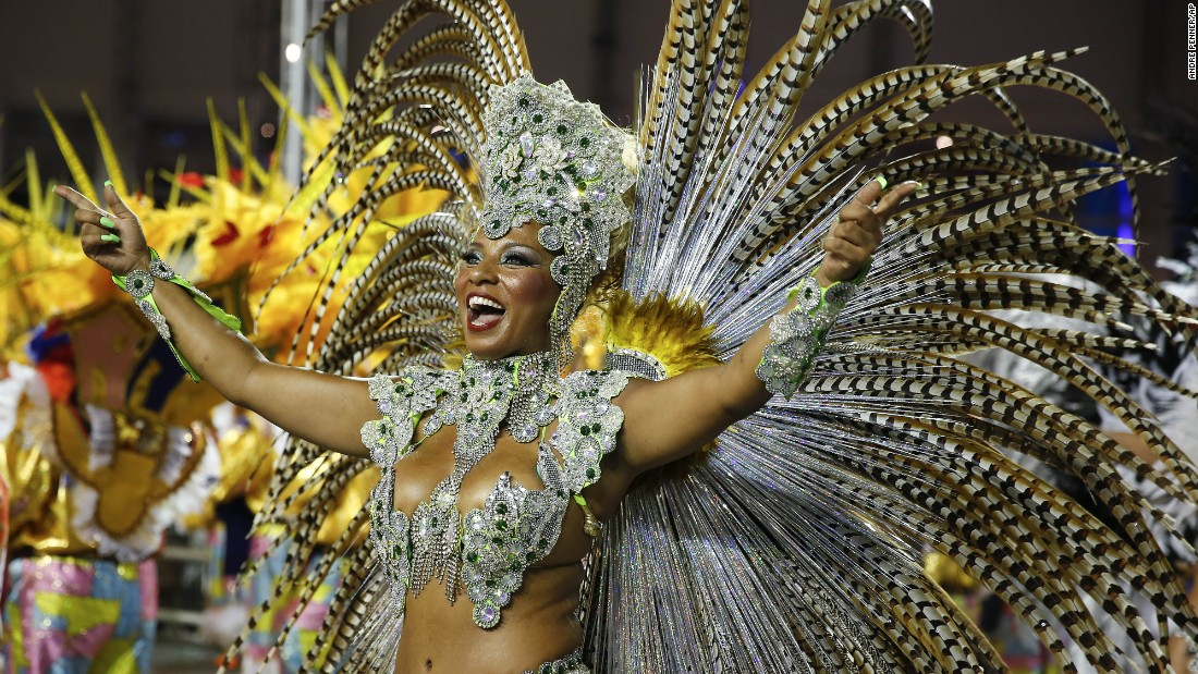 A dancer performs during a Carnival parade in Sao Paulo on Friday, February 13.