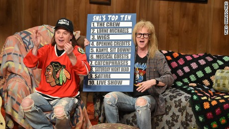 Mike Myers as Wayne, Dana Carvey as Garth during the Wayne's World skit on February 15, 2015 -- (Photo by: Theo Wargo/NBC)