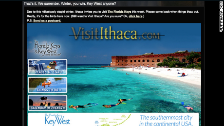 The Ithaca/Tompkins County Convention and Visitors Bureau website suggests the Florida Keys instead.