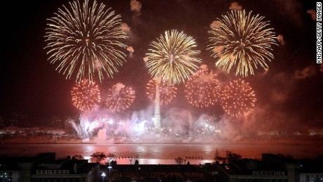 This photo taken on February 16, 2015 and released by North Korea's official Korean Central News Agency (KCNA) shows a display of fireworks to celebrate birthday of late leader Kim Jong-Il on the bank of the River Taedong where the Tower of the Juche Idea stands in Pyongyang.