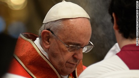 Pope Francis attends the funeral of German cardinal Karl Josef Becker on February 16 at the Vatican.