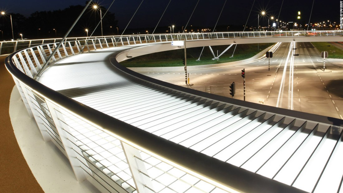 The Hovenring in the Netherlands is a suspended bicycle path roundabout near Eindhoven. The city council there decided it wanted a piece of infrastructure that not only separated bikes and traffic, but would become an eye-catching tourist attraction as well.