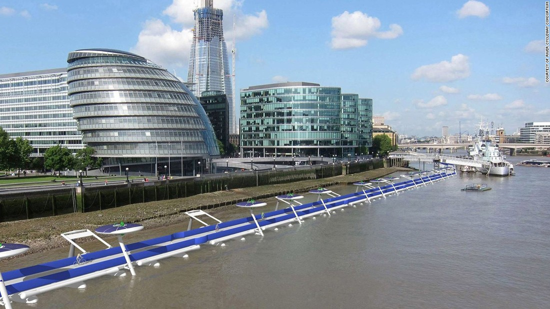 A proposal for a floating bike path that would use London's oldest thoroughfare, the river Thames. The 12km stretch would connect Battersea with the Docklands and slice the cycling time between the two destinations by 30 minutes.