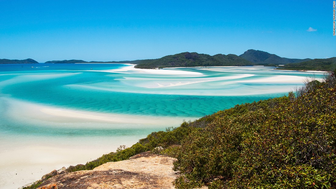 "Whitehaven Beach on Whitsunday Island in Australia is this year's No. 9 Travelers' Choice beach. ""Sand is like sugar! Under the sun, you must use dark glasses,"" wrote one recent TripAdvisor reviewer."