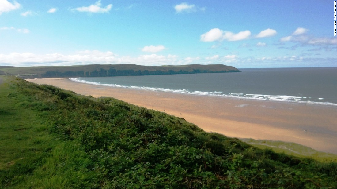 The expansive Woolacombe Beach is located along England's Southwest Coast Path.