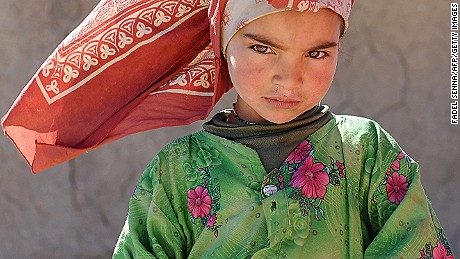 A picture taken on January 12, 2013 shows an Amazighan child in Anfgou in the High Atlas mountains. Morocco's indigenous Berber people, descendants of North Africa's pre-Arab inhabitants, are struggling to make their voices heard despite their ancient Amazigh-language winning official recognition in 2011 after decades of campaigning.