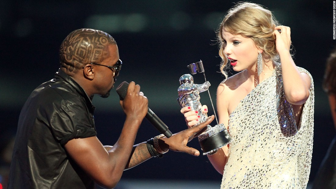 "Kanye West and Taylor Swift had one of the greatest celeb feuds of all time. The rapper famously grabbed the singer's mic at the 2009 MTV Video Music Awards. He later apologized, and she seemed to accept his apology via her song ""Innocent."""