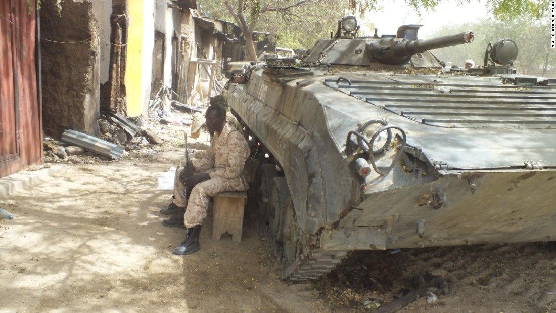 This Boko Haram tank was destroyed by Chadian and Cameroonian troops.