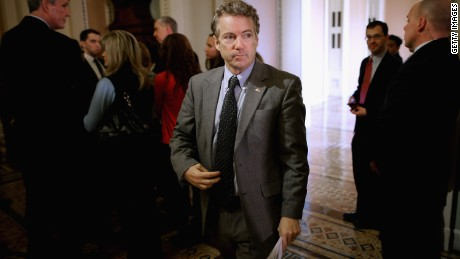 WASHINGTON, DC - FEBRUARY 03: Sen. Rand Paul (R-KY) leaves the weekly Republican Senate policy luncheon at the U.S. Capitol February 3, 2015 in Washington, DC. Senate Democrats filibustered the legislation to fund the Homeland Security Department because it included a measure to roll back President Obama's executive order on immigration. (Photo by Chip Somodevilla/Getty Images)