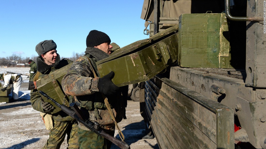 "Pro-Russian rebels load the ammunition onto a truck. <a href=""http://cnn.com/2015/02/18/europe/ukraine-conflict/"">The Organization for Security and Cooperation in Europe, </a>which is tasked with monitoring the ceasefire and a supposed withdrawal of heavy weapons, has not been able to gain access to Debaltseve because of the continued conflict."