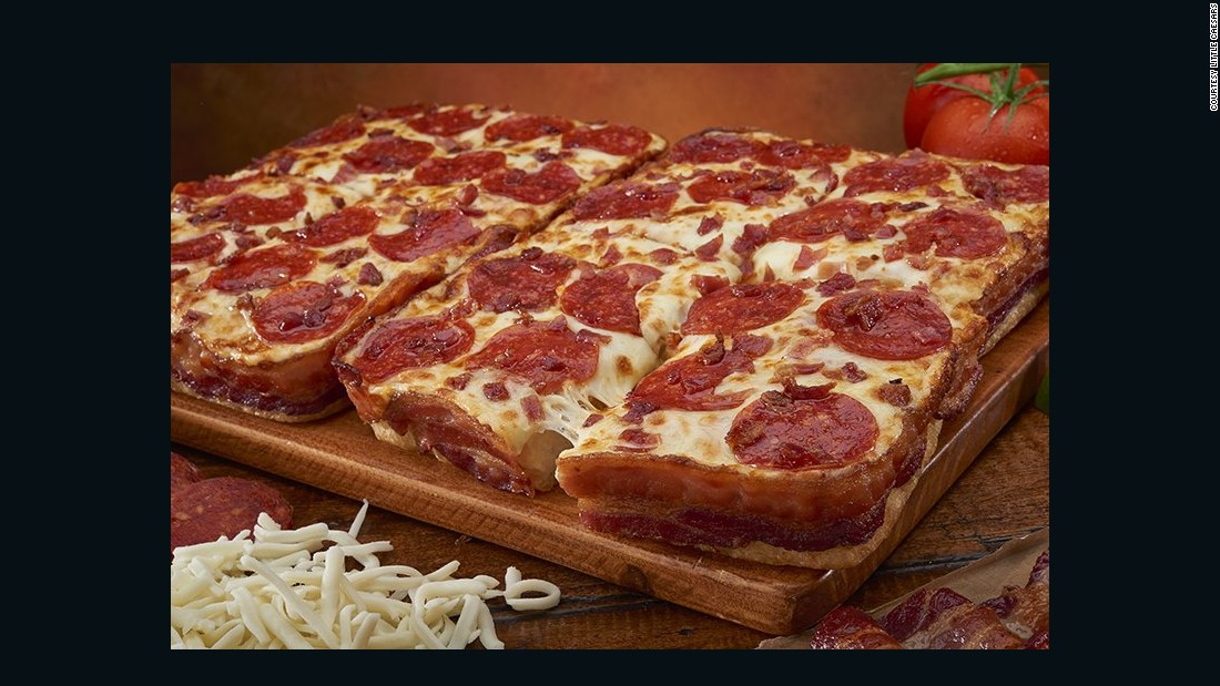 Little Caesars launched a bacon-wrapped pizza in February. A full 3.5 feet of savory meat top and envelop this deep-dish creation.