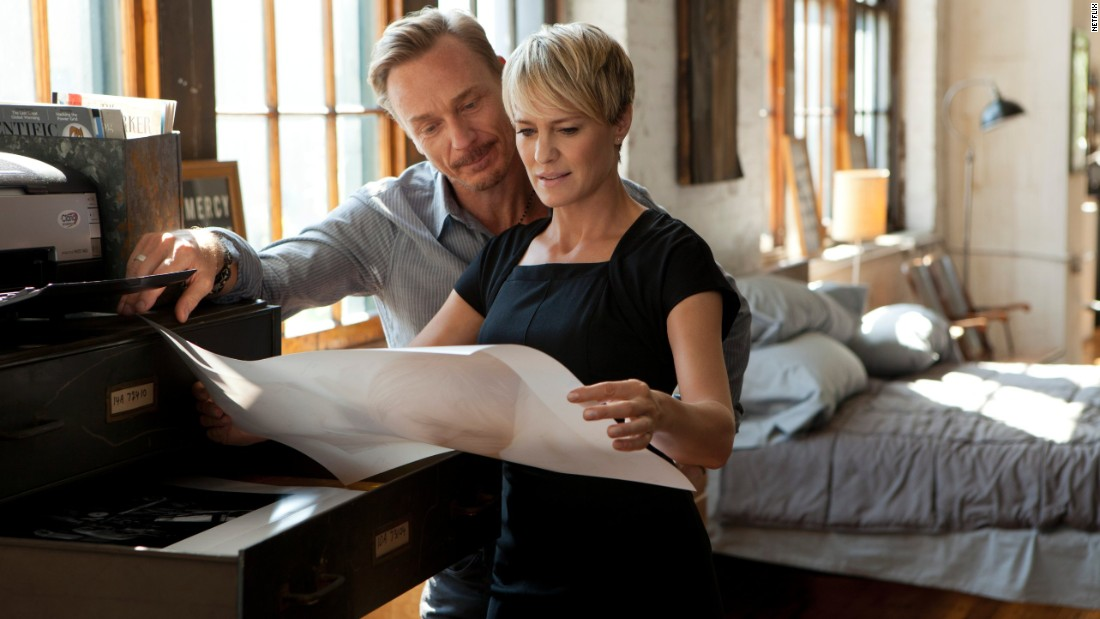 Robin Wright plays Frank's calculating wife and partner in crime Claire Underwood. In Season 1 she had a brief affair with an old boyfriend, photographer Adam Galloway (Ben Daniels), which threatened to torpedo the Underwoods' political plans.