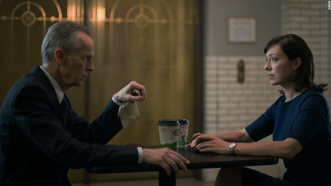 """Congresswoman Jacqueline """"Jackie"""" Sharp (Molly Parker) shares coffee with her mentor, Ted Havemeyer (David Clennon). After Frank Underwood became vice president he made sure Sharp succeeded him as House Majority Whip, although their loyalties were often strained."""