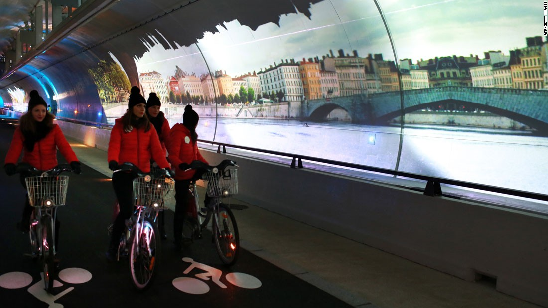 "Lyon, France's second city, has its own bike share scheme ""Velo'v"" to rival the ""Velib"" system of its big sister Paris. But Paris does not have Lyon's ""Le Tube"" - a 2km car-free route that doubles as a continuous art installation with projected images."