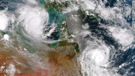 AUSTRALIA - FEBRUARY 19: In this handout provided by the National Oceanic and Atmospheric Administration (NOAA), Cyclone Lam in the Arafura Sea and Cyclone Marcia off the east coast of Queensland are both expected to make landfall on February 19, 2015 in Australia. This image is a combination of two passes from the Suomi NPP satellite's VIIRS instrument taken around 0345Z to the east and 0530Z to the west. Cyclone Marcia was expected to be a Category 5 storm. (Photo by NOAA via Getty Images)
