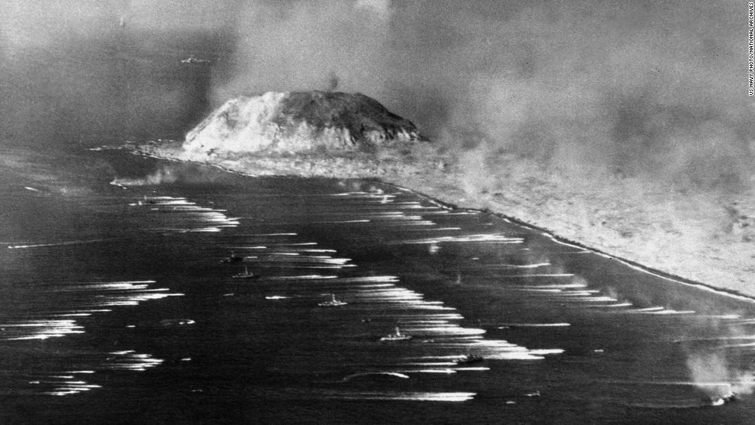 The first wave of U.S. Marines heads for the beach of Iwo Jima on February 19, 1945.