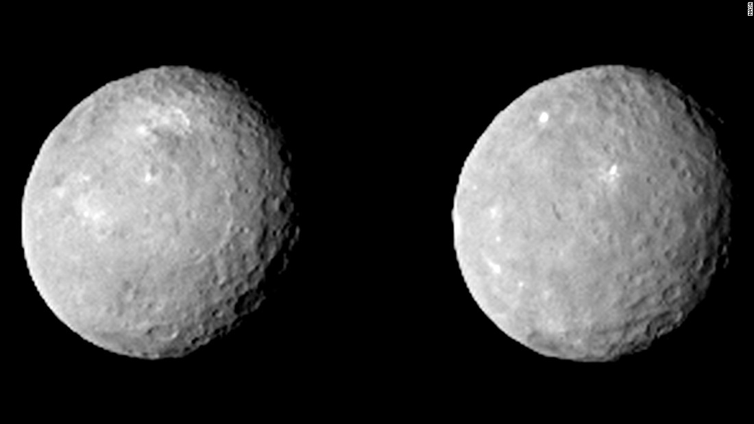 These two views of Ceres were taken on February 12, when Dawn was about 52,000 miles (84,000 kilometers) from Ceres. The images were taken about 10 hours apart.