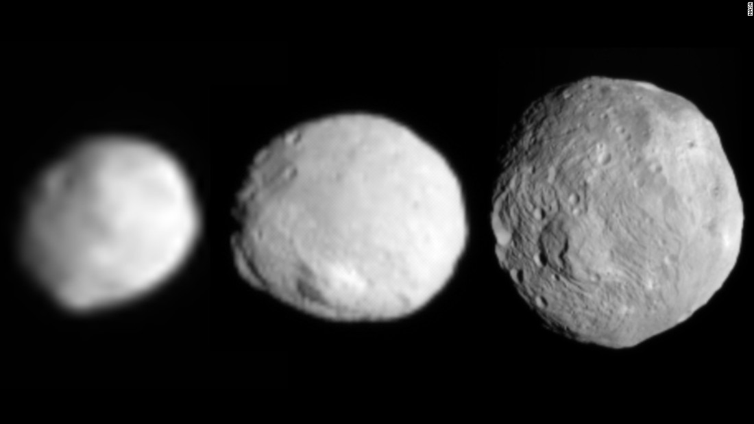 On its way to Ceres, Dawn spent more than 300 days taking photos of the protoplanet Vesta. These three images show Vesta coming into view as the spacecraft approached in July 2011.