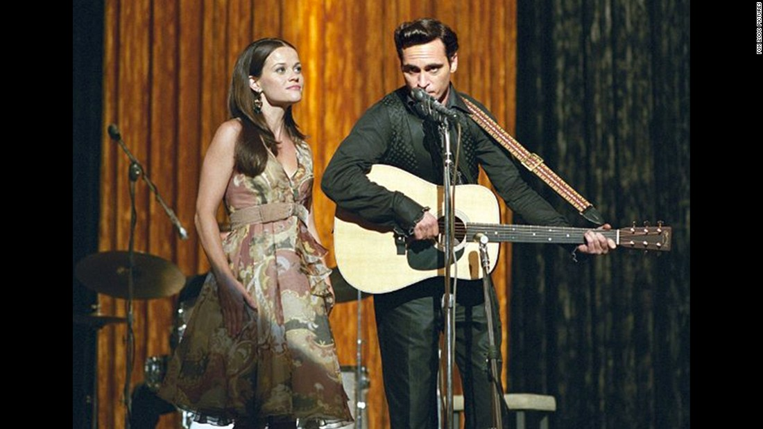 "Reese Witherspoon and Joaquin Phoenix played real-life couple June Carter and Johnny Cash in 2004's ""Walk the Line."" Phoenix earned a nomination for his performance; Witherspoon won."