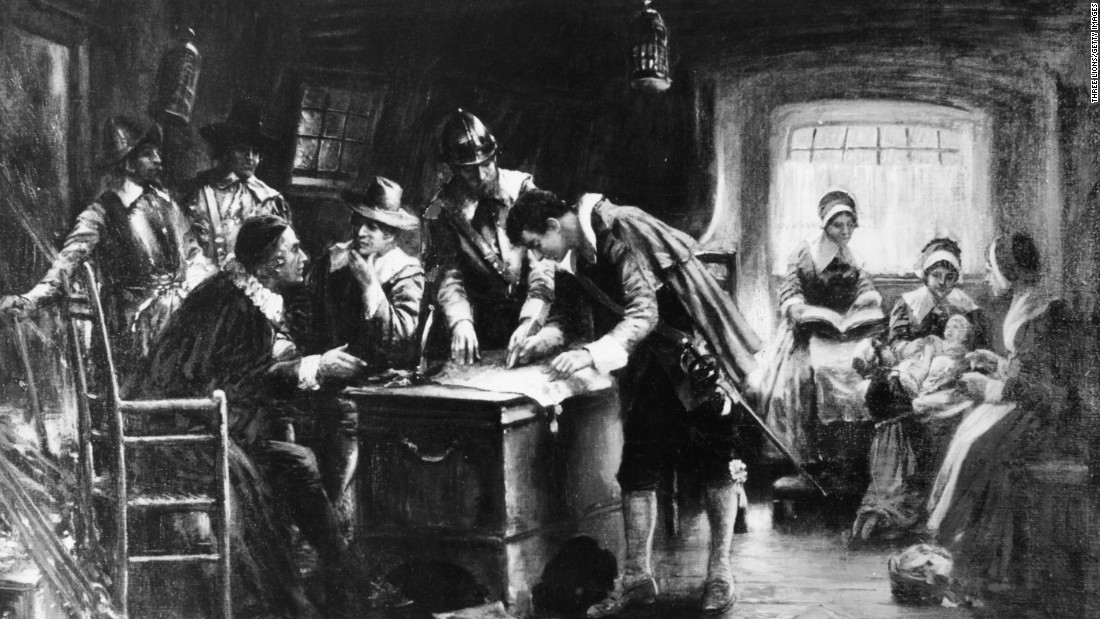Massachusetts was one of the first colonies to carry out the death penalty, hanging murderer John Billington in Plymouth in 1630. Billington was one of the signers of the Mayflower Compact in 1620, shown here in a painting by Edward Percy Moran. The compact, written and signed by the Pilgrims aboard the Mayflower while anchored in Provincetown harbor, established the founding principle of self-rule for the group.