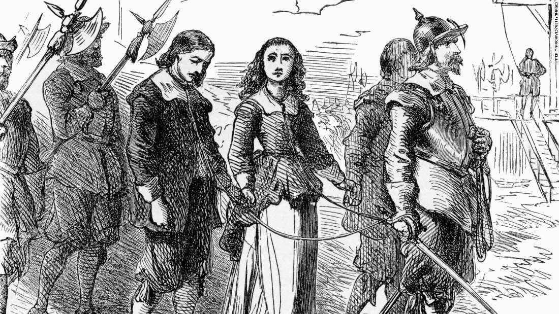 "The executions in Massachusetts seem to reflect the worst fears of their times. Mary Dyer was one the so-called ""Boston martyrs"" hanged in 1660 under a law that banned Quakers from the Massachusetts Bay Colony. This illustration shows Quakers being led to execution in the 17th century. Though the illustration does not specify it, the scene may depict Dyer and others on their way to the gallows on Boston Common."