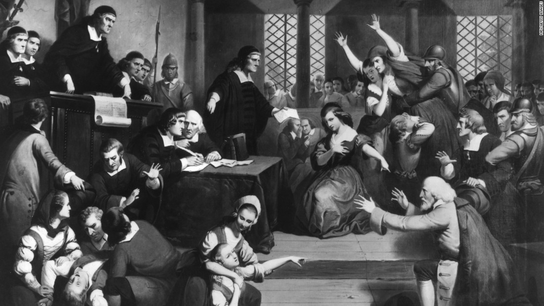 In all, Massachusetts has executed 345 people, including 26 people hanged for practicing witchcraft. Nineteen women were hanged in 1692 alone in the infamous Salem witch trials, depicted in this image.