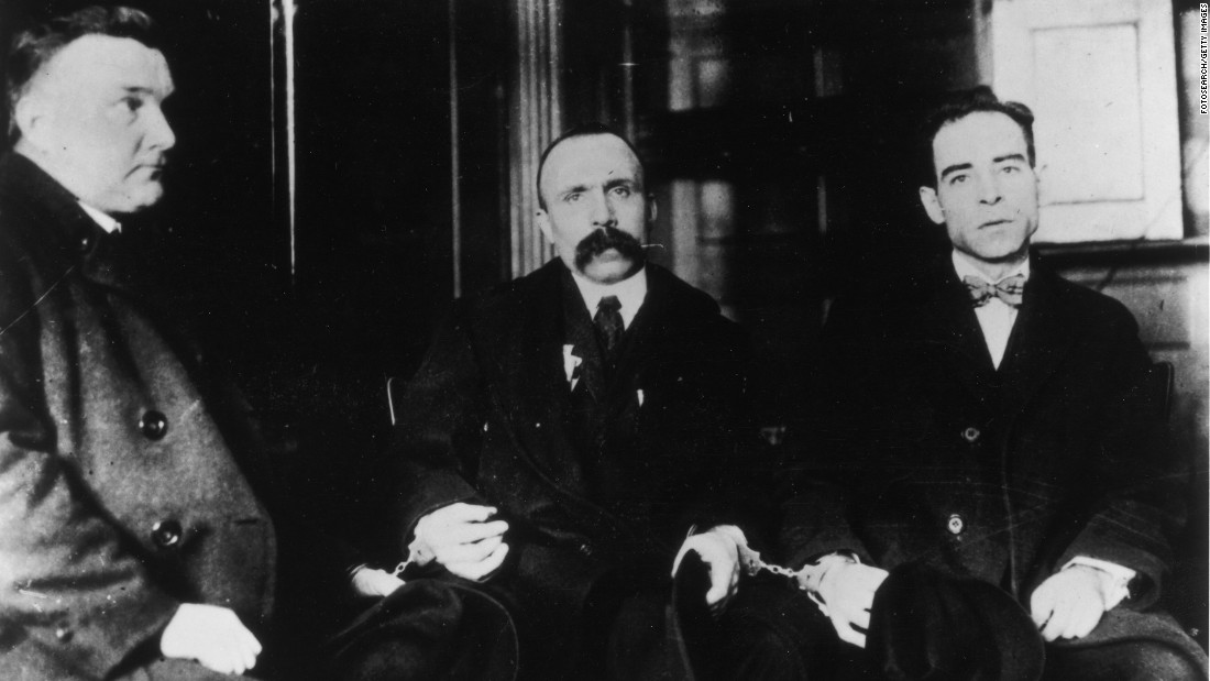 Two Italian-born anarchists, Nicola Sacco and Bartolomeo Vanzetti, went to the electric chair in 1927 amid a huge public outcry spurred by writers, academics and celebrities of the time; many people believed them innocent.<br />