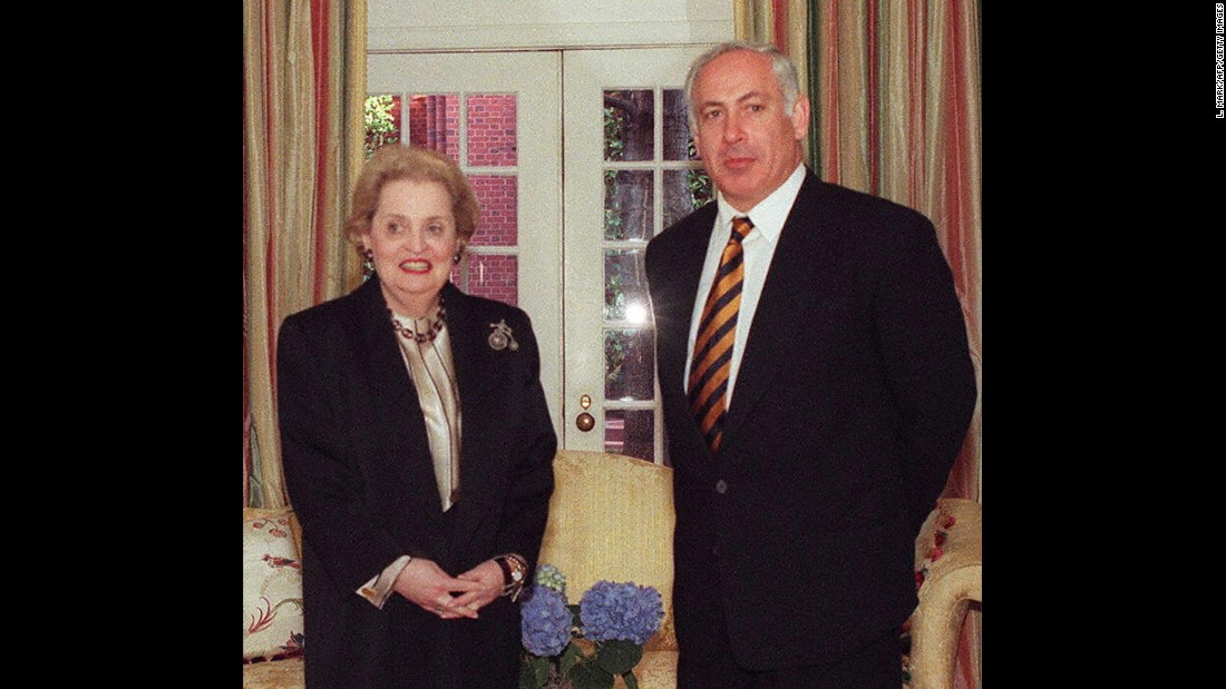 Netanyahu meets with U.S. Secretary of State Madeleine Albright in Washington in February 1997.