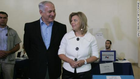 Benjamin Netanyahu and his wife, Sara, are shown at a polling station in Jerusalem in August 2007.