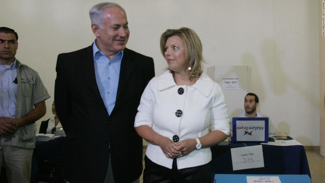 Netanyahu and his wife, Sara, are seen at a polling station in Jerusalem on August 14, 2007. He was re-elected as head of the Likud party.